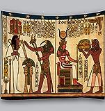 Amiiba Wandteppich, ägyptische Götter, Pharaonen, Wandbehang, Hieroglyphische Schnitzereien, Heimdekoration für Schlafzimmer, Wohnzimmer (ägyptisch, L – 200,7 x 149,9 cm)