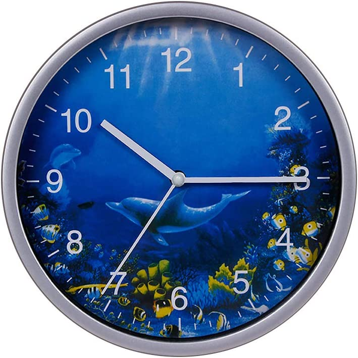 10. Ocean Theme Wall Clock with Dolphins