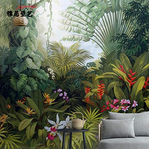 Papel Tapiz De Selva Tropical Medieval Asia Sudoriental Papel Pintado Vegetal Pintado A Mano Restaurante Fondo Pared Verde Plátano Mural-200Cmx140Cm