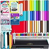Silhouette Black Cameo 3 Bluetooth Starter Bundle with 36 12x12 Oracal Sheets, Siser Easyweed T-Shirt Vinyl, Membership, Transfer Paper, Guide, Class, 24 Sketch Pens