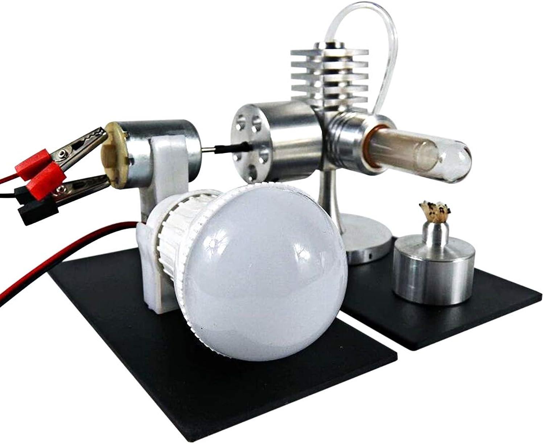 H0_V Stirling engine,Singlecylinder Stirling Engine Model Toy with Generator and LED Bulb
