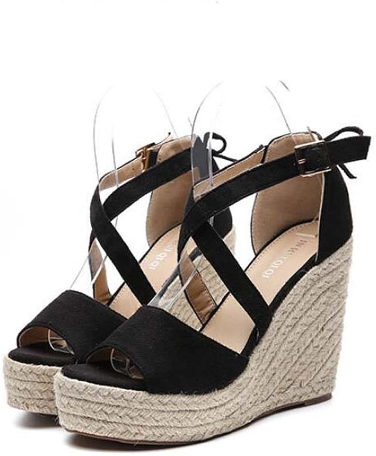 Pump 11.5cm Wedge Heel X-Strap Sandals Hemp Rope Dress shoes Women Fashion Peep Toe D'Orsay Belt Buckle OL Court shoes Roma shoes EU Size 34-40