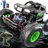 Remote Control Car, Uniway RC Car 1:14 Remote Control Off Road Monster Truck, 2.4Ghz 4WD LED Lights Off Road Rock Crawler Vehicle, Remote Control Truck for Boys and Girls 6-12 Gift-Green