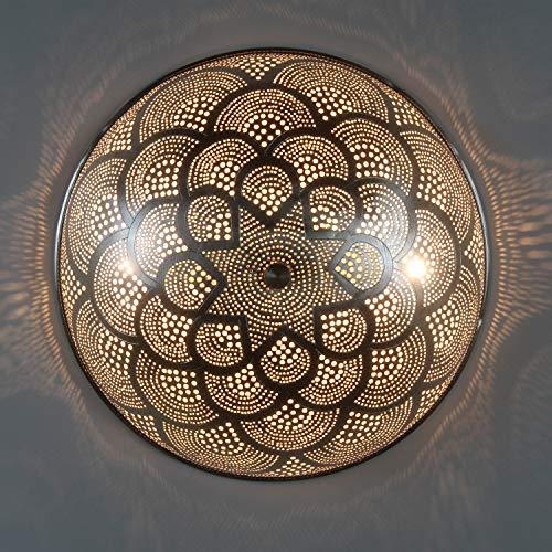 Orientalische Wandleuchte Handmade Wandlampe Rahila D35 Silber | Echt versilberte Messing-Lampe | Kunsthandwerk aus Ägypten | Prachtvolle Wandbeleuchtung für tolle Lichteffekte wie aus 1001 Nacht