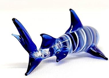 Sansukjai Shark Miniature Figurines Animals Hand Blown Glass Art Collectible Gift Decorate, White Blue