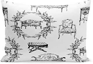 Semtomn Throw Pillow Covers Toile Pattern Furniture from Rococo Abstract Sketch Ancient Black Pillow Case Cushion Cover Lumbar Pillowcase Decoration for Couch Sofa Bedding Car 20 x 26 inchs