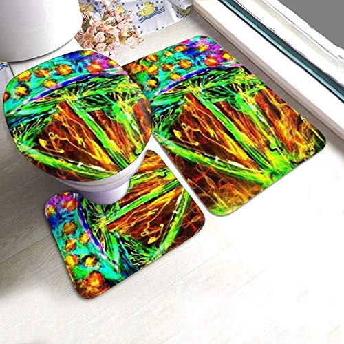 ZhangYu Tappetino Psychedelic 60s Weed 3 Piece Bathroom Rugs Set Soft Bath Mats Washable U-Shape Contoured Toilet Mat & 15.7x23.6 rug & 1 Lid Cover for Indoor Bath Room Tub Shower