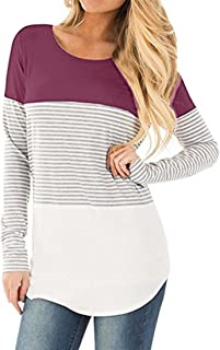 TOPUNDER 2018 Women Casual Long Sleeve Blouse Striped Tops Patchwork Stretchy T-Shirt