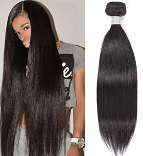 AUTTO Hair 8A Unprocessed Brazilian Virgin Remy Hair Straight Hair One Bundle 26Inch Virgin Human Hair Weave Weft Extension Natural Black Color (100+/-5g)/pc Can be Dyed and BleachedBleached