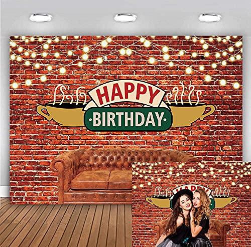 BINQOO Toile de fond « Happy Birthday » pour décoration de pub des années 80 et 90 - Pour studio photo, mini session - 2,1 x 1,5 m