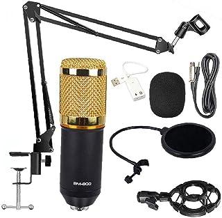 Condensator Microfoon Professionele Cardioïde Mic Kit Mount Bm-800 Double-layer Pop Filter Golden