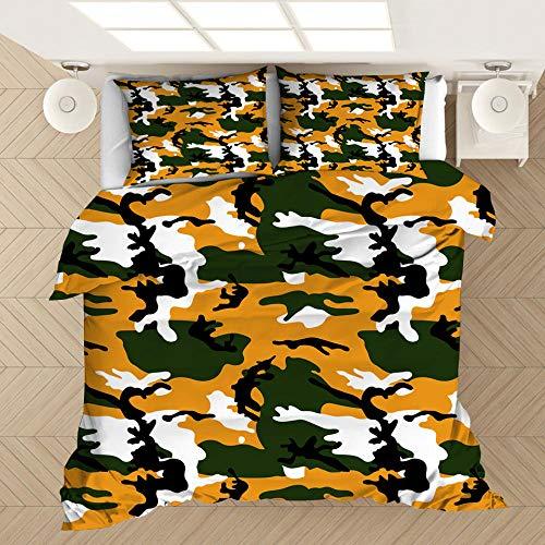 Funda de almohada con funda nórdica con estampado de camuflaje en 3D, cama individual doble tamaño king, dormitorio decorativo, apartamento, ropa de cama suave y cómoda-5_180 * 210 cm (3 piezas)