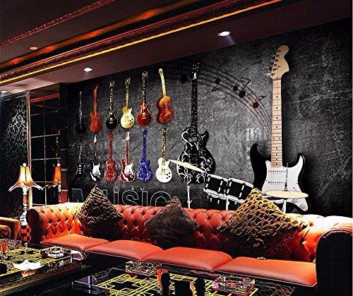 WH-PORP Benutzerdefinierte Foto 3D Tapete Mural Amerikanischen Retro Nostalgischen Rock Musik Instrument Brick Wall-200cmX140cm
