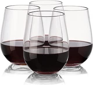 Plastic Stemless Wine Glasses - Set of 4 Reusable Plastic Wine Glasses for Parties - Reusable - Unbreakable - Shatterproof - 16 Ounce 450 Milliliter - Glasses for Outdoor, Weddings, Camping