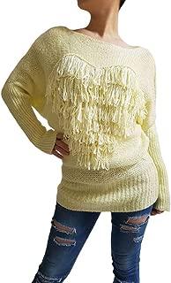 BASICOJ Women`s Boat Neck Batwing Sleeves Tassel Knit Sweater
