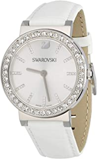 Swarovski Citra Spehere Silver Dial Stainless Steel Crystal Case White Leather Ladies Watch 1185826