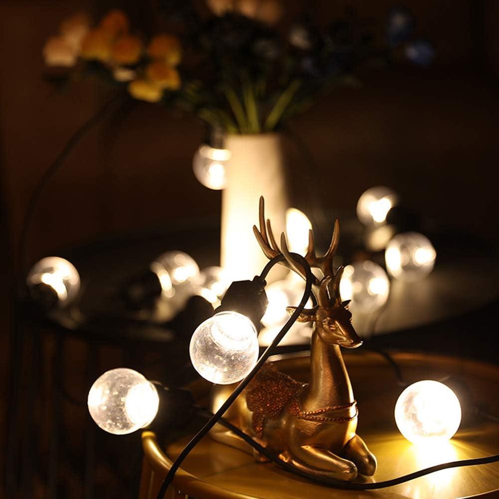 Wuudi - Guirnalda de luces para exteriores, G50, 10 bombillas, luz blanca cálida, resistente al agua, iluminación interior exterior, luz decorativa con enchufe para jardín(bola transparente 24 V10)