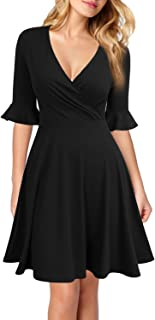 Women's Deep V Neck Flounce Bell Sleeve Casual Party Mini Dress