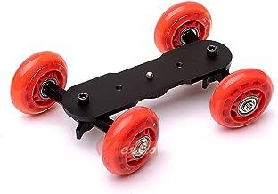 Zeadio Tabletop Portable Dolly Mini Rail Car Slider Skater Wheel Track Stabilizer for DSLR Camera Video DC - Red