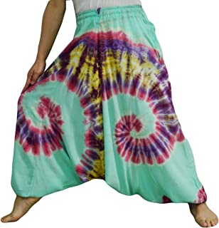 Tie Dye Pants Unisex Baggy Aladdin Hippy Harem Jump Leg and Adjustable Waist from 20-40 Inches