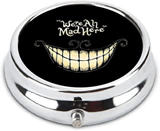 OceanArt Custom We're All Mad Here Unique Silver Tone Round Pill Box Medicine Tablet Organizer or Coin Purse