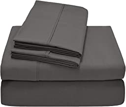 Rajlinen 100% Cotton Sheets, 4 Piece Premium Sheet Set 600 Thread Count Sateen Weave Long Staple Cotton Bed Sheets, Fit Up to 15-Inch-Deep Pocket (Full, Dark Grey Solid)