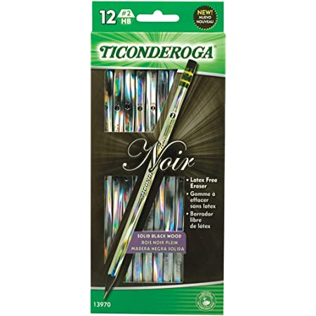 Ticonderoga Noir Black Wood-Cased #2 Pencils, Holographic Design, 12-Count (13970)