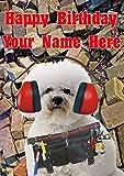 Bichon Frise Dog Builder nfd122 - Tarjeta de felicitación para cumpleaños (tamaño A5), diseño de perro con texto en inglés