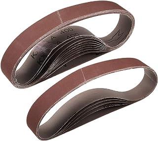 """1""""x 21"""" 400 kornslipbälte Aluminiumoxid sandpappersbälten för bärbar rems slipmaskin träfinish metall gips polering slipni..."""