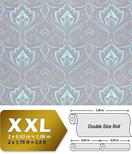Barock Tapete XXL Vliestapete EDEM 993-37 Elegantes Damastmuster hochwertige Luxus Tapete blau hellblau grün mint grau glitzer 10,65 m2