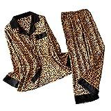 NoBrand Pyjamas léopard Femmes Rayures Pyjamas en Satin Ensembles 2019 Nouveau Printemps à Manches Longues 2 pcs Costume décontracté Soie Maison vêtements vêtements de Nuit