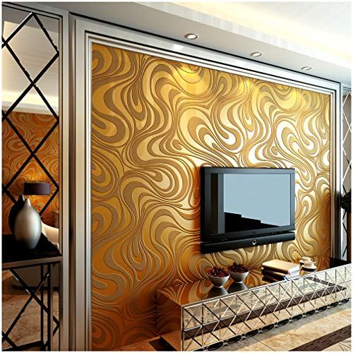 QIHANG Modern Abstract Curve 3D Wallpaper Roll Mural Papel De Parede Flocking for Striped Gold&Yellow Color Qh-Wallpaper 0.7m8.4m=5.88?