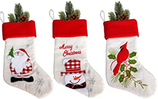 JaosWish Christmas Stockings 3 Pcs 18 inches Burlap Bag with Chinese Bird Santa Claus Snowman for Holiday Home Decorations