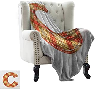 Moving Blanket Letter C,Vintage Typeface Design with Classical Pattern Sewing Craft Theme, Vermilion Pale Yellow Brown Colorful,Home,Couch,Outdoor,Travel Use 60
