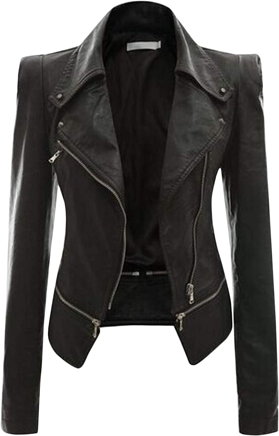 Uaneo Women's Notch Lapel Zip Up PU Leather Short Slim Moto Biker Jacket Coats (Black, Medium)