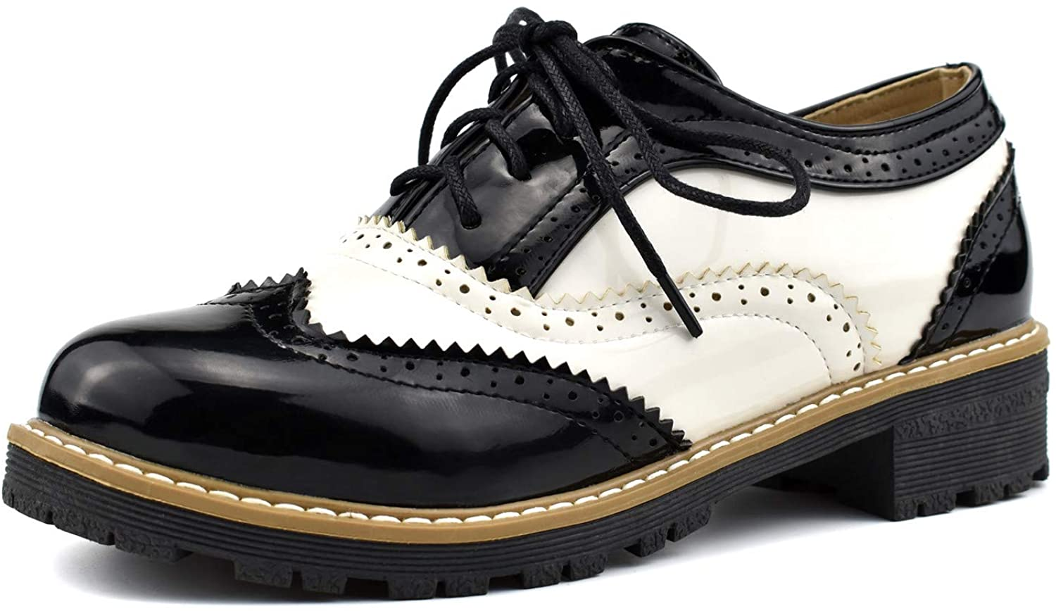 100FIXEO Popular Women 100% quality warranty Wingtip Lace Up Vintage Shoes Brogues Oxford