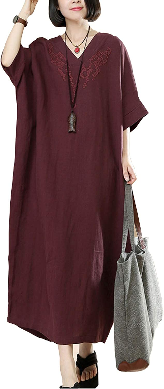 Fancy beautystyle Women's Summer V Neck Embroidered Linen Maxi Dress Kaftan Tunic Fit US 416