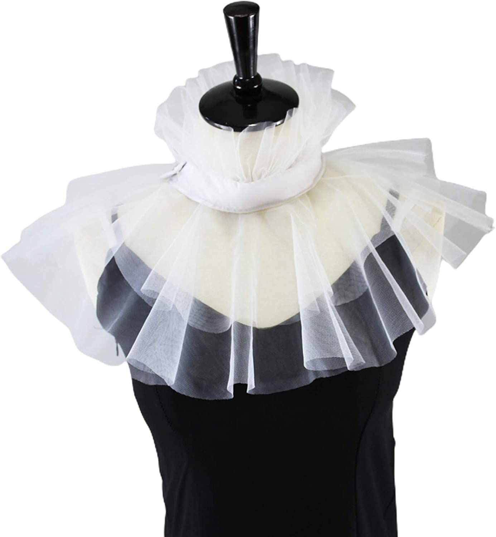 YOUSIKE Ruffled Shawl, Women Vintage Victorian Mesh Ruffled Fake Stand Collar Layered Tulle Button Closure Neck Ruff Clown Choker Shawl Wrap Cosplay Costume Props