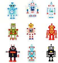 Iron On Patches Unique Embroidered Motif Applique 9pcs/lot Assorted Small Size Robot Figure Shape Cool Decoration Iron/Sew On Patches for DIY Caps Handbag T-Shirt Jeans Jacket Clothing