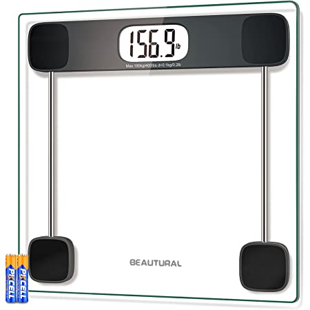 BEAUTURAL Digital Scale for Body Weight, Precision Bathroom Weighing Bath Scale, Step-On Technology, High Capacity - 400 lb, Large Display, Batteries and Tape Measure Included