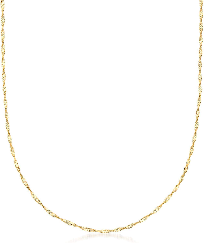 Ross-Simons Italian 18kt Yellow Gold Diamond-Cut Singapore Chain Necklace