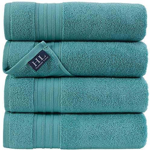 Hammam Linen Green Water Bath Towels 4-Pack - 27x54 Soft and Absorbent, Premium Quality Perfect for Daily Use 100% Cotton Towel