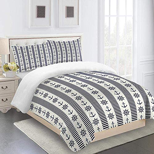 AOJHG Bedding Sets Super King 240X260Cm Anchor And Rudder 3 Pcs Duvet Covers Sets With 2 Pillowcases 50X75Cm - Ultra Soft Polyester Cotton Quilt Cover With Zipper