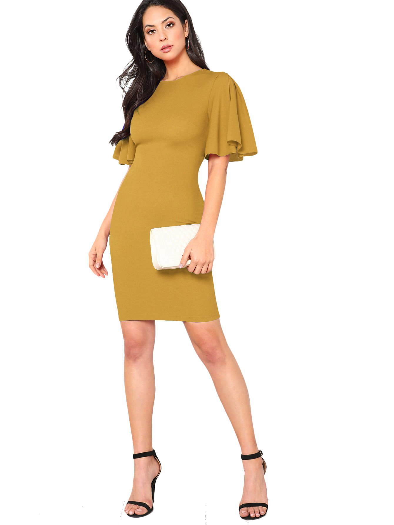 Available at Amazon: Floerns Women's Ruffle Sleeve Knee Length Bodycon Dress