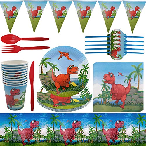 Juego Vajilla Dinosaurio - ZSWQ 82 Piezas Vajilla Dinosaurio Reutilizable, Vajilla de Fiesta Temática de Dinosaurio Reutilizable Para Baby Shower, Decoración de Fiesta de Cumpleaños(10Invitados)