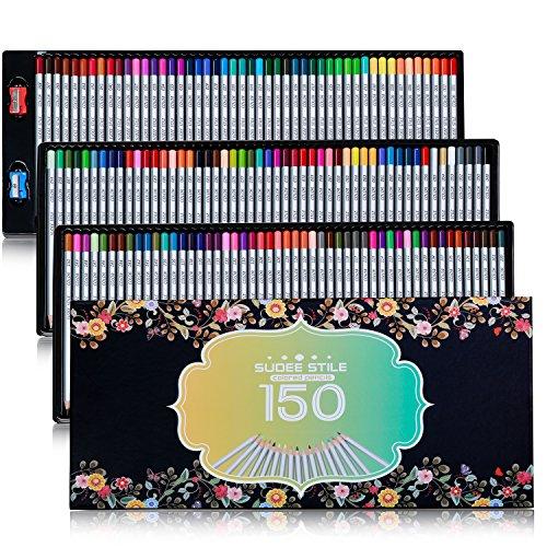 SUDEE STILE Colored Pencils 150 Unique Colors (No Duplicates) Art Drawing Colored Pencils Set with Case Sharpener