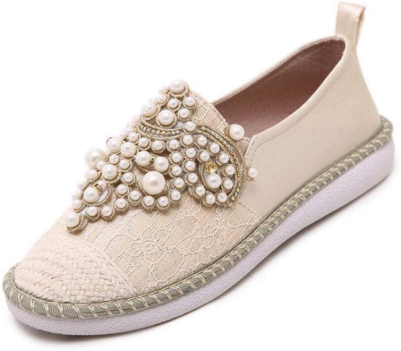 JQfashion Ladies'Lefu shoes Lace Breathable Flat Sole Casual Women's shoes Pearl