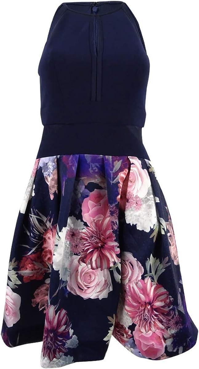 Xscape X Women's Illusion Floral-Print Fit & Flare Dress (4, Navy Multi)