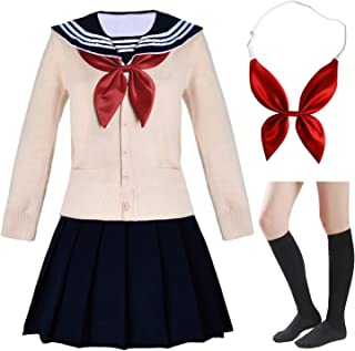 Japanese School Girls Short Sleeve Uniform Sailor Navy Blue Pleated Skirt Anime Cosplay Costumes with Socks Set