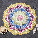 IAMZHL Toalla de Playa Borla Toalla Tapiz Bloqueador Solar Toalla Redonda Toalla de baño LotusYoga Mat 150cm-Pink Yellow Edge-b20
